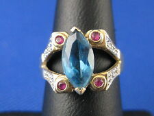 VINTAGE 14K YELLOW GOLD BLUE TOPAZ &  RING SIZE 5.75