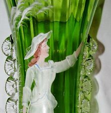 Victorian Hand Made Moser Detail Color Enamel Mary Gregory Green w/Rigoree Vase