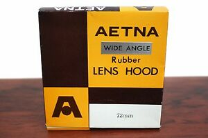 Vintage Camera Lens Hood 72mm Aetna Wide Angle Rubber NOS Japan