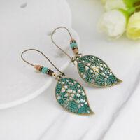 Fashion Women Vintage Long Dangle Drop Hollow Leaf Bead Earrings Costume Jewelry
