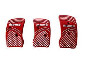 Momo Style Red Silver Aluminum Non Slip Gas Brake Pedal Pad Manual Car 3 PCS
