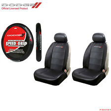 New 5pc Dodge Elite Logo Car Truck SUV Front Seat Covers Steering Wheel Cover