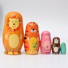 5pcs Lovely Wooden Nesting Dolls Animal Russian Doll Paint Present Kids Gift UK