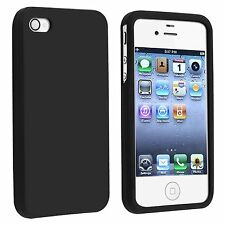 Black Rubber Soft Silicone SKIN Case Phone Cover for Apple iPhone 4 4S 4G 4GS