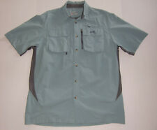Natural Gear sz M Nylon Vented Fishing Hiking Shirt Slate Blue Magnetic Pockets