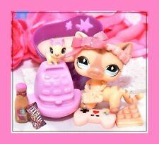 ❤️Authentic Littlest Pet Shop LPS #886 Shorthair Cat DIAMOND Eyes COLLAR Baby❤️
