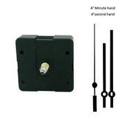 "Clock Movement Mechanism Quartex with 4"" Black Straight Hands Long Shaft"
