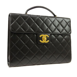 CHANEL Quilted CC Briefcase Business Hand Bag Purse Black Leather 05001