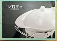 Godinger Natura 1 Qt. Covered Porcelain Baker With Warmer Stand New In Box