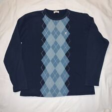 Pringle Of Scotland Argyle Long Sleeve Crew Neck T Shirt Blue Men's Large L