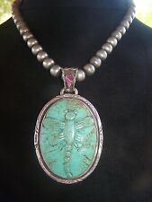 Sterling Carved Dragonfly Turquoise Purple Spiny Oyster Pendant~Francisco Gomez