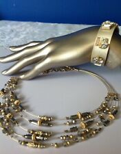 CHICO'S Multi-layer Gold Silver Beed Necklace and magnetic Rhinestone bracelet