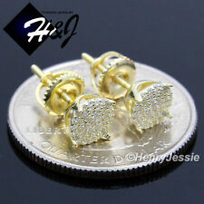 925 STERLING SILVER 6MM LAB DIAMOND BLING ROUND SCREW BACK GOLD STUD EARRING*G66