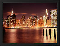 MANHATTAN NIGHT NEW A3 FRAMED PHOTOGRAPHIC PRINT POSTER