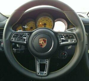 Porsche 991 911 2013-2019 Black Leather Steering Wheel Yellow Stitching New