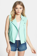 Women's ASTR Faux Leather Moto Vest in Seagreen Size Extra Small