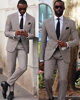 2Pieces Plaid Coat Jacket Pants Men Suits Wedding Business Slim Fit Tuxedos