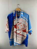 Ice Collection Mens Blue Vintage Hawaiian Short Sleeve Button Up Shirt Size L