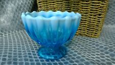 Victorian Fluted Blue Vaseline Glass Footed Dish 4.5 inches tall by 5 inches