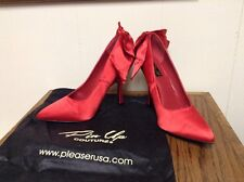 Pin Up Couture Bombshell Pump Red Bow Retro Vintage Inspired Rockabilly Size 9