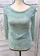 MOTH Anthropologie Size S M Seafoam Green Soft Stretch Mesh Wrap Top Ruched
