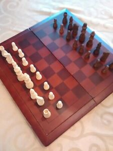 Vintage Cardinal Wood Folding Chess Checkers set Complete