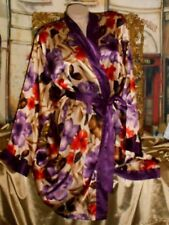 Usa L Satin Robe Short Purple Watercolor Botanical Long Slv Kimono