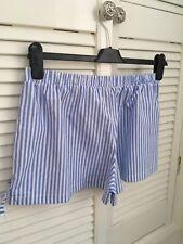 Hey Peachy Blue & White Striped Pyjama Short Bottoms Bows Size l 12/14