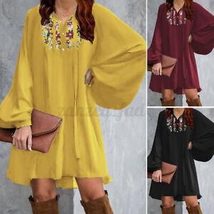 ZANZEA 8-24 Women Long Puff Sleeve Mini Dress Button Up Embroidered Floral Dress