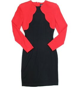 VTG 80s All That Jazz Womens Black Red Fitted Sheath Dress Size 5/6