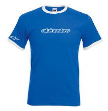 Juko Alpinestars Logo 1356 Moto GP VR46 Rossi Motorbike Racing Ringer T Shirt.