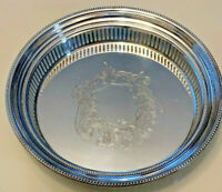 """Vintage Towle 10"""" Gallery Round Serving Silver Plate Tray NOT ENGRAVED 5683"""