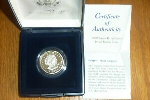 1999 P Proof  Susan B Anthony Dollar in US Mint Case with  COA SEALED