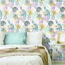 Rommates Perennial Blooms Floral Peel and Stick Botanical Wallpaper Pink Gray