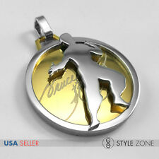 Stainless Steel Kung Fu Star Bruce Lee Classsic Logo on Round Pendant Charm 10A
