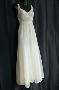 LACY IVORY DOUBLE NYLON Shadowline Vintage 1960s Sheer Bust NEGLIGEE NIGHTGOWN
