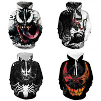 Marvel Venom Hoodie 3D Print Sweatshirt Hooded Pullover Men Women Casual Jacket
