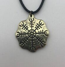 Anhänger Aegisjhalmur Runen Thorshammer Odin Götter Pagan Asatru Kette Gold K11