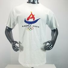 Aohna 2004 Olympics Embroidered Large 100% Cotton T Shirt