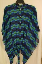 CHAUS BLOUSE BUTTON DOWN BLUE,GREEN AND BLACK WITH TIE SIZE LG