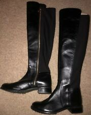 New MICHAEL Michael Kors Bromley Knee-High Boots Black Leather 7 M Stretch