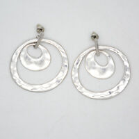 kenneth cole signed jewelry matte silver plated unique hoop drop circle earrings