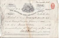 THE STANDARD LIFE ASSURANCE COMPANY, Logo 1891 Policy Stamp Receipt Ref 46901