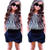 2pcs Summer Children Striped Vest Tops+Shorts Kids Girls Clothing Outfit Set