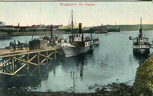 Norway Norge Hamar - Bryggeparti Boats old postcard