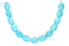 """SALE 13 Magnesite Howlite Flat Oval Beads 12x16mm 8"""" Turquoise Blue #83001"""