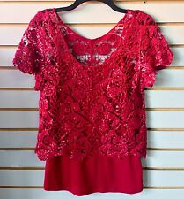 Heart Soul Red Adult Medium Short Sleeve Floral Shiny Knit Top Attached Camisole