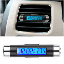 Thermometer Clock Calendar Blue Back light Car LCD Clip-on Digital Automotive