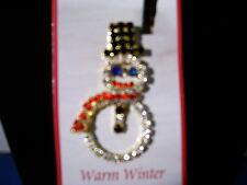 Christmas Pin Rhinestone Snowman 3