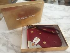 Original Michael Kors Illustrations Kleid Leder Tasche Clutch Rot NEU OVP